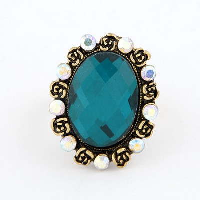 Latest Blue Oval Shape  Design Alloy Korean Rings