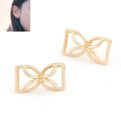 Flip Gold Bowknot Shape Design Alloy Stud Earrings