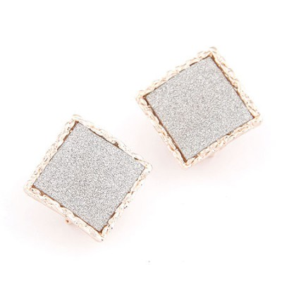 Cheap Silver Square Shape Simple Design Alloy Stud Earrings