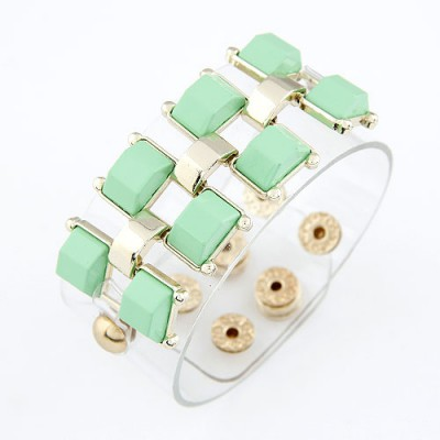 Hooters Light Green Wide Rivet Design Alloy Korean Fashion Bracelet