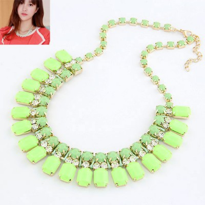 Flamenco Fruit Green Handwork Weave Design Alloy Bib Necklaces