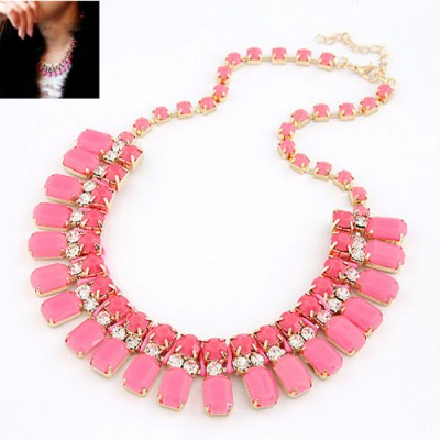 Celebrity Plum Red Handwork Weave Design Alloy Bib Necklaces