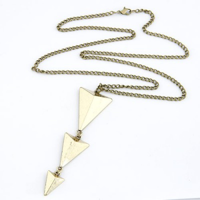Expired Beige Triangle Pendent Design Alloy Chains