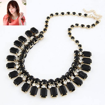 Convertibl Black Handwork Weave Design Alloy Bib Necklaces