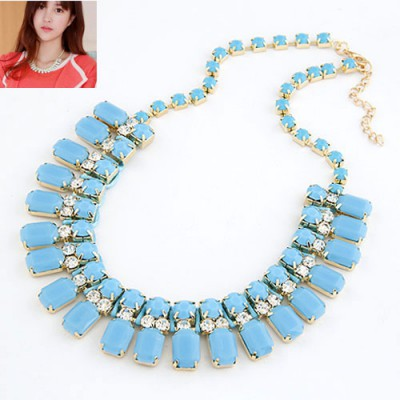Aquamarine Blue Handwork Weave Design Alloy Bib Necklaces