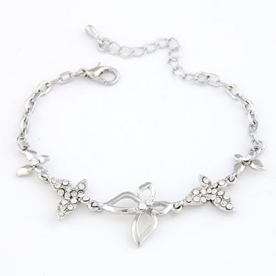 Infinity Silver Butterfly  Decorated Design Alloy Korean Fashion Bracelet