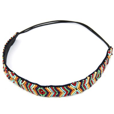 Engagement Multicolor Beads Weave Design Alloy Hair band hair hoop