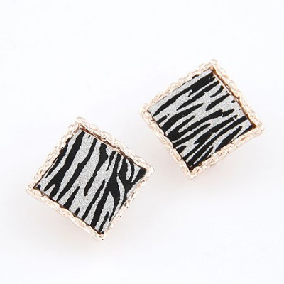 Hydraulic Leopard Square Shape Leopard Design Alloy Stud Earrings