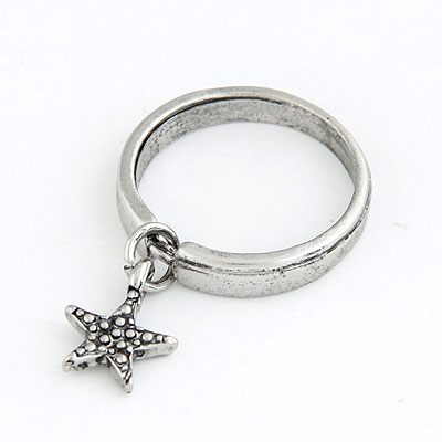 Wedding Antique Star Pendent Design Alloy Korean Rings