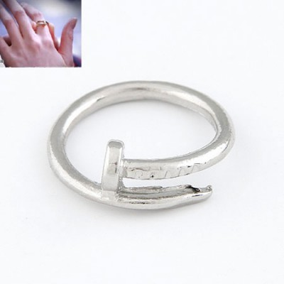 Sapphire Silver Simple Rivet Design Alloy Korean Rings