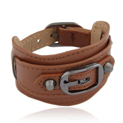 Contempora Brown Wide Belt Buckle Design Alloy Korean Fashion Bracelet
