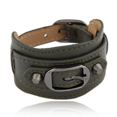 Bodybuildi Dark Green Wide Belt Buckle Design Alloy Korean Fashion Bracelet