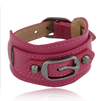 Fake Plum Red Wide Belt Buckle Design Alloy Korean Fashion Bracelet