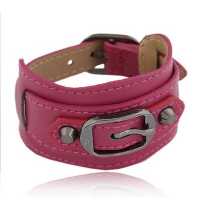 Fake Plum Red Wide Belt Buckle Design Alloy Korean Fashion Bracelet
