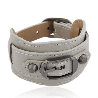 Masculine Beige Wide Belt Buckle Design Alloy Korean Fashion Bracelet