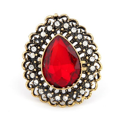 Western Red Hollow Water Drop Shape Design Alloy Korean Rings