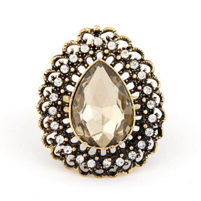 Milly Champagne Hollow Water Drop Shape Design Alloy Korean Rings