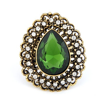 Softshell Green Hollow Water Drop Shape Design Alloy Korean Rings