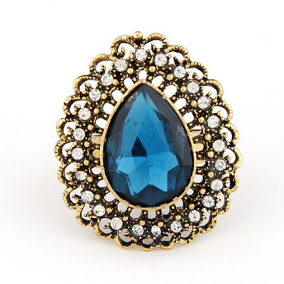 Synthetic Sapphire Hollow Water Drop Shape Design Alloy Korean Rings