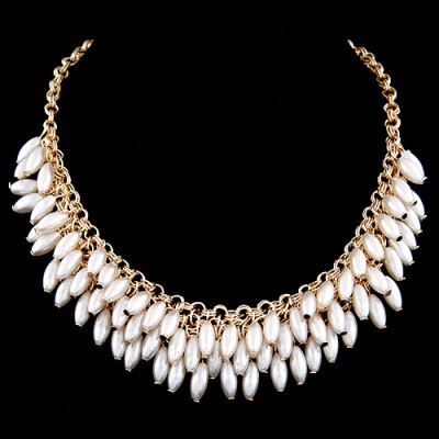 Christmas White Multilayer Pearl Design Alloy Bib Necklaces