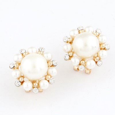 Statement White Simple Pearl Design Alloy Stud Earrings
