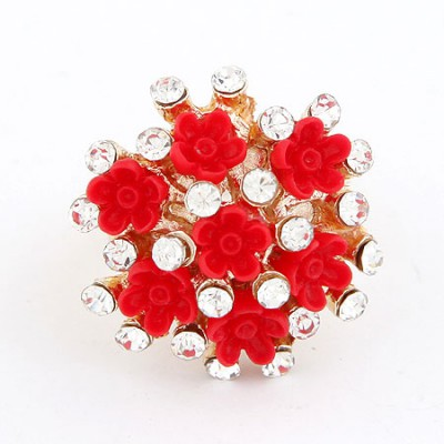 Bodybuildi Red Flower Diamond Design Alloy Korean Rings