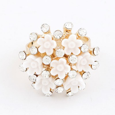Baptism White Flower Diamond Design Alloy Korean Rings