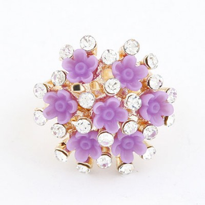 Easter Purple Flower Diamond Design Alloy Korean Rings