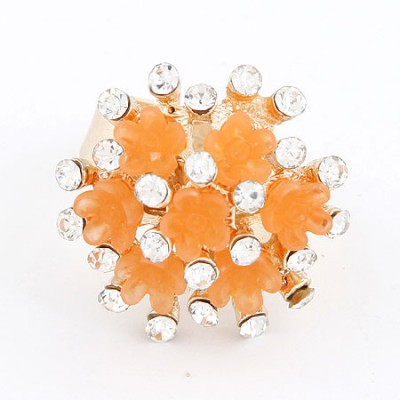 Profession Orange Flower Diamond Design Alloy Korean Rings