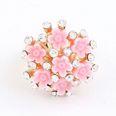 Seamless Pink Flower Diamond Design Alloy Korean Rings