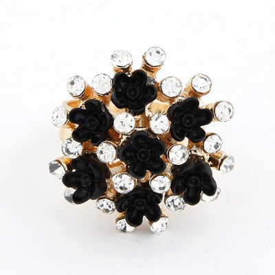 Peterbilt Black Flower Diamond Design Alloy Korean Rings