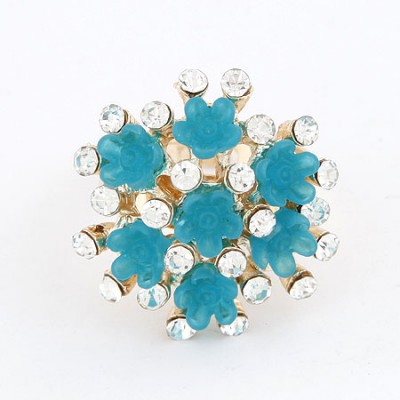 Oval Light Blue Flower Diamond Design Alloy Korean Rings
