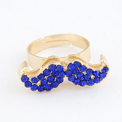 Victorian Sapphire With Full Diamond Moustache Design Alloy Korean Rings