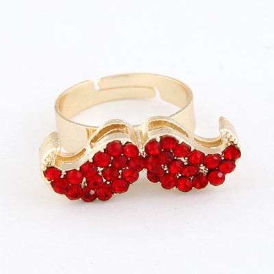 Royal Red With Full Diamond Moustache Design Alloy Korean Rings