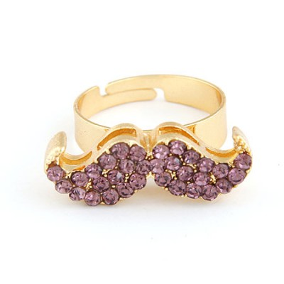Hiphop Purple With Full Diamond Moustache Design Alloy Korean Rings