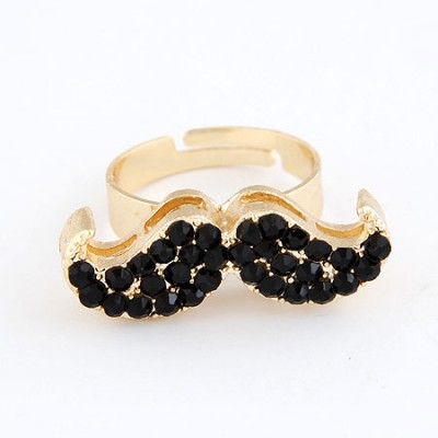 Scottish Black With Full Diamond Moustache Design Alloy Korean Rings