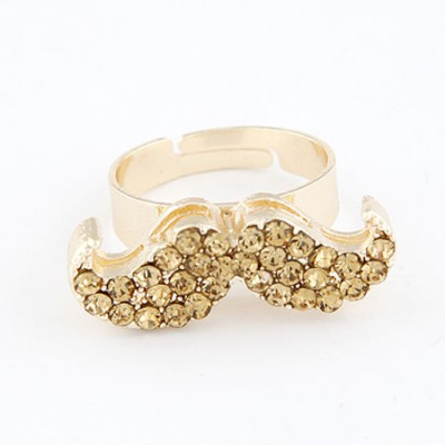 Funeral Champagne With Full Diamond Moustache Design Alloy Korean Rings
