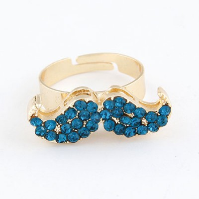 Wholesale Navy Blue With Full Diamond Moustache Design Alloy Korean Rings