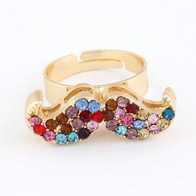 Digital Multicolor With Full Diamond Moustache Design Alloy Korean Rings