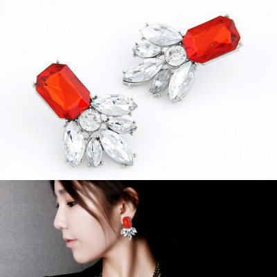 Caterpilla Red Geometric Shape Pendant Design Alloy Stud Earrings