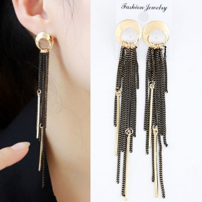 Aamazing Gold Color Tassels Pendant Simple Design Alloy Stud Earrings