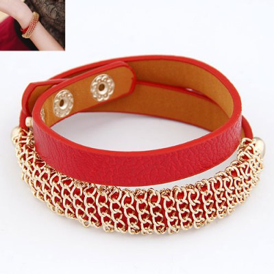 Fashion Red Metal Chain Decorated  Double Layer Design Alloy Korean Fashion Bracelet