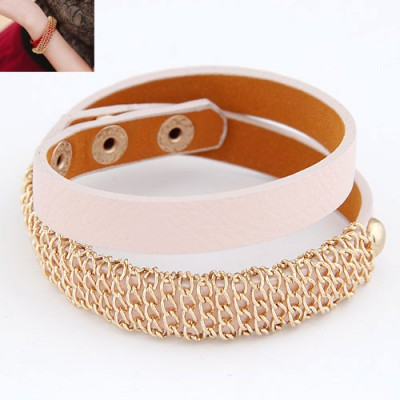 Modern Light Pink Metal Chain Decorated  Double Layer Design Alloy Korean Fashion Bracelet