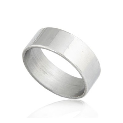 Propper Silver Color Glossy Surface Simple Design Titanium Korean Rings