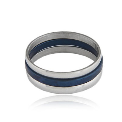 Fishing Dark Blue Multilayer Double Colors Design Titanium Korean Rings