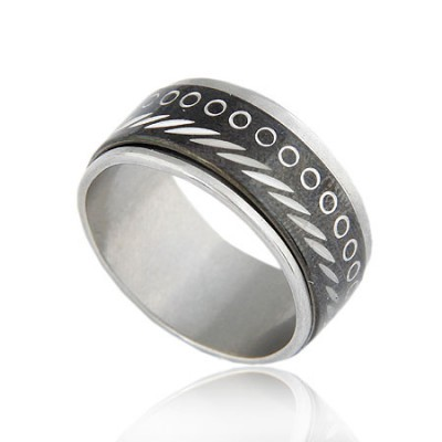 24K Black Circle Decorated Pattern Design Titanium Korean Rings