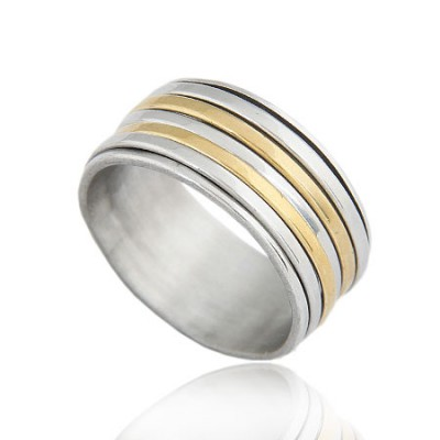 Writing Gold Color Circle Shape Simple Design Titanium Korean Rings