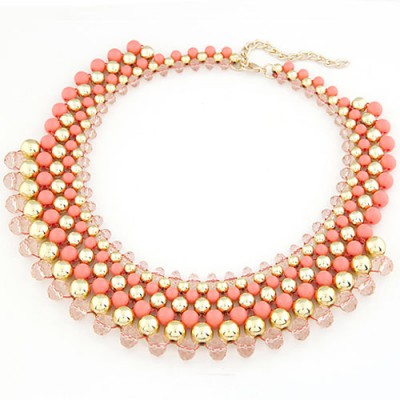 Vibrating Watermelon Red Multilayer Weave Fake Collar Design Turquoise Beaded Necklaces