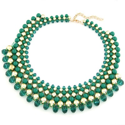 2011 Dark Green Multilayer Weave Fake Collar Design Turquoise Beaded Necklaces