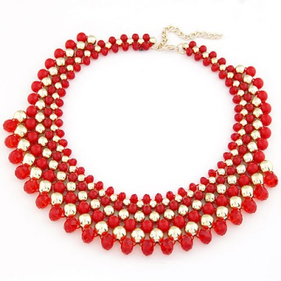 Cargo Red Multilayer Weave Fake Collar Design Turquoise Beaded Necklaces